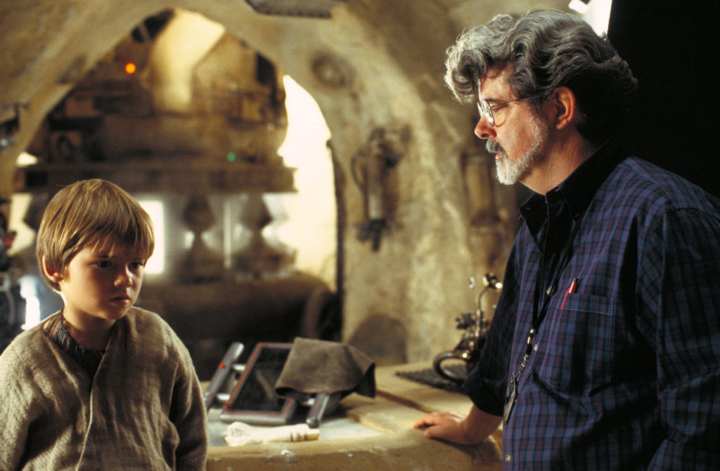 George Lucas and Jake Lloyd on the set of The Phantom Menace.