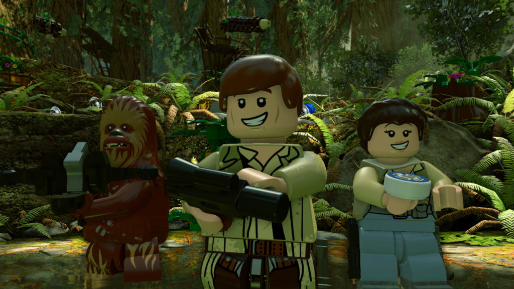 Han, Chewie, and Leia on Endor in LEGO Star Wars: The Force Awakens.