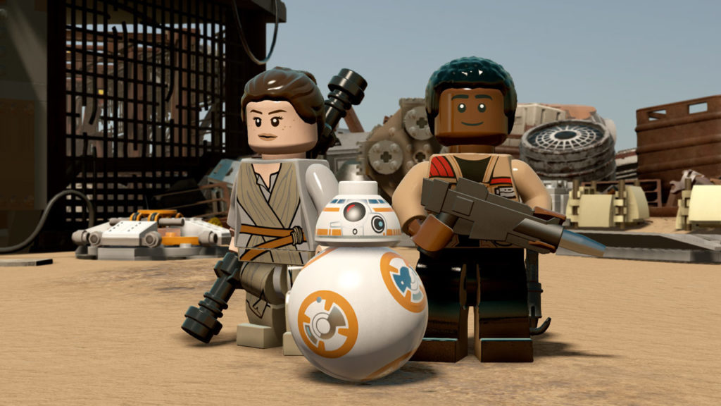 Rey, BB-8, and Finn in LEGO Star Wars: The Force Awakens.