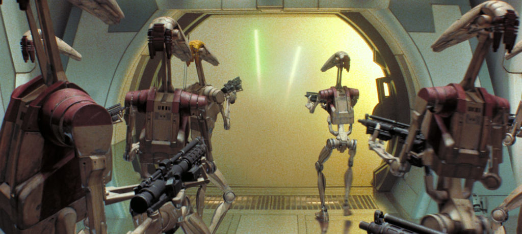 Obi-Wan Kenobi and Qui-Gon Jinn take on battle droids in The Phantom Menace.