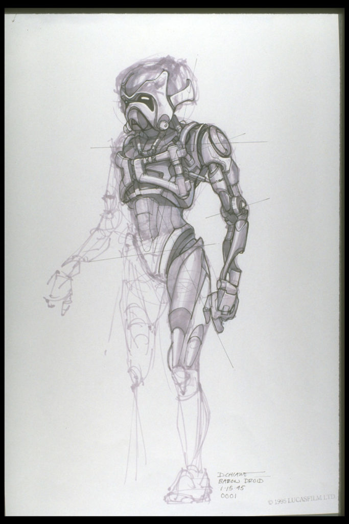 Doug Chiang's original battle droid concept for The Phantom Menace.