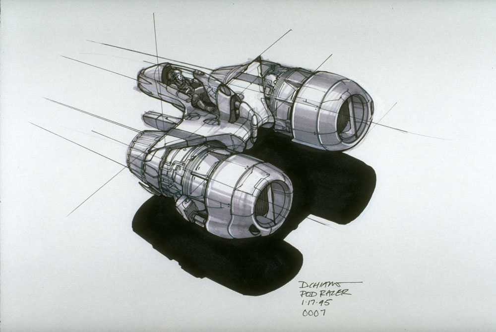 An early concept sketch of the podracer.