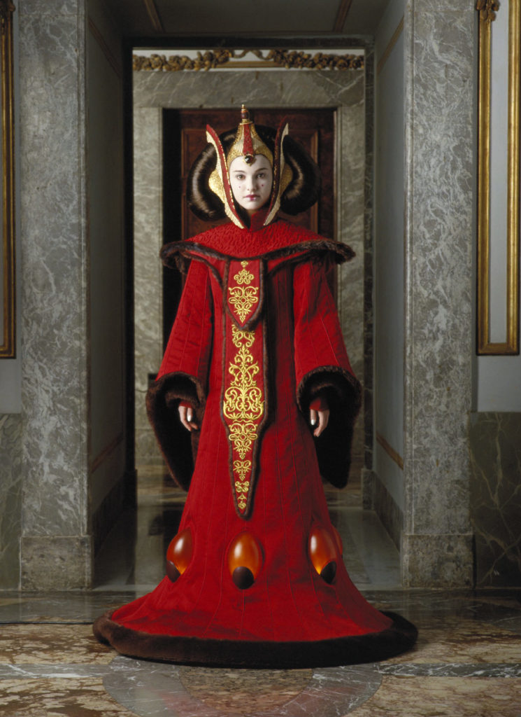 Queen Amidala in her throne room gown