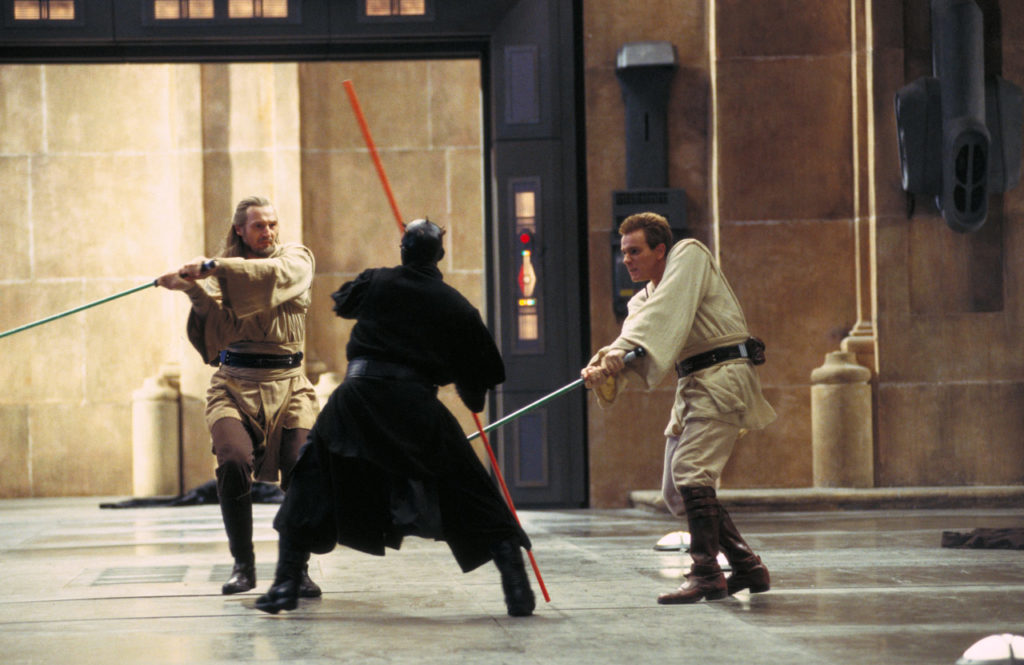 Filming the Qui-Gon Jinn / Obi-Wan Kenobi / Darth Maul duel.