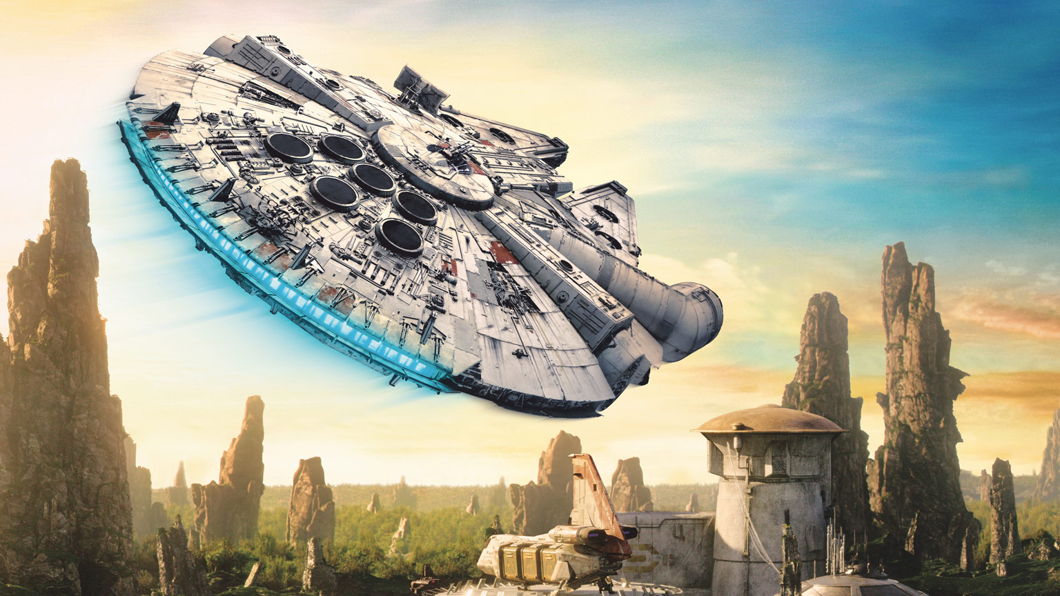 The Millennium Falcon flies over Batuu.