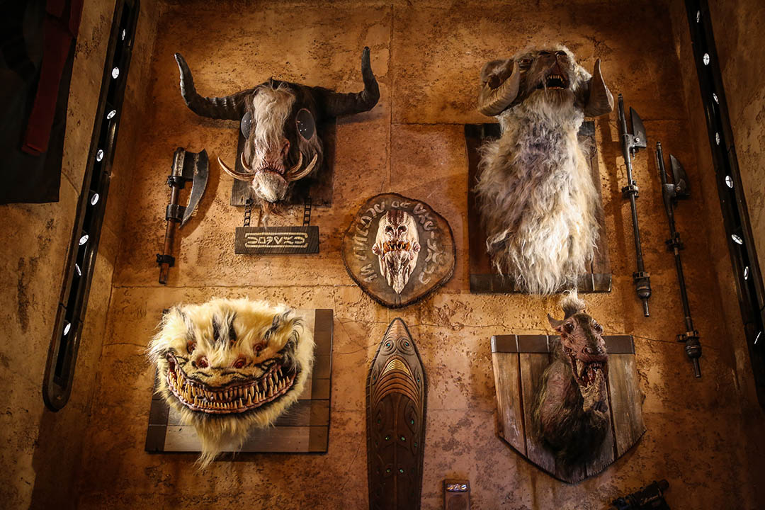A wall of creature heads at Dok-Ondar's at Star Wars: Galaxy's Edge.