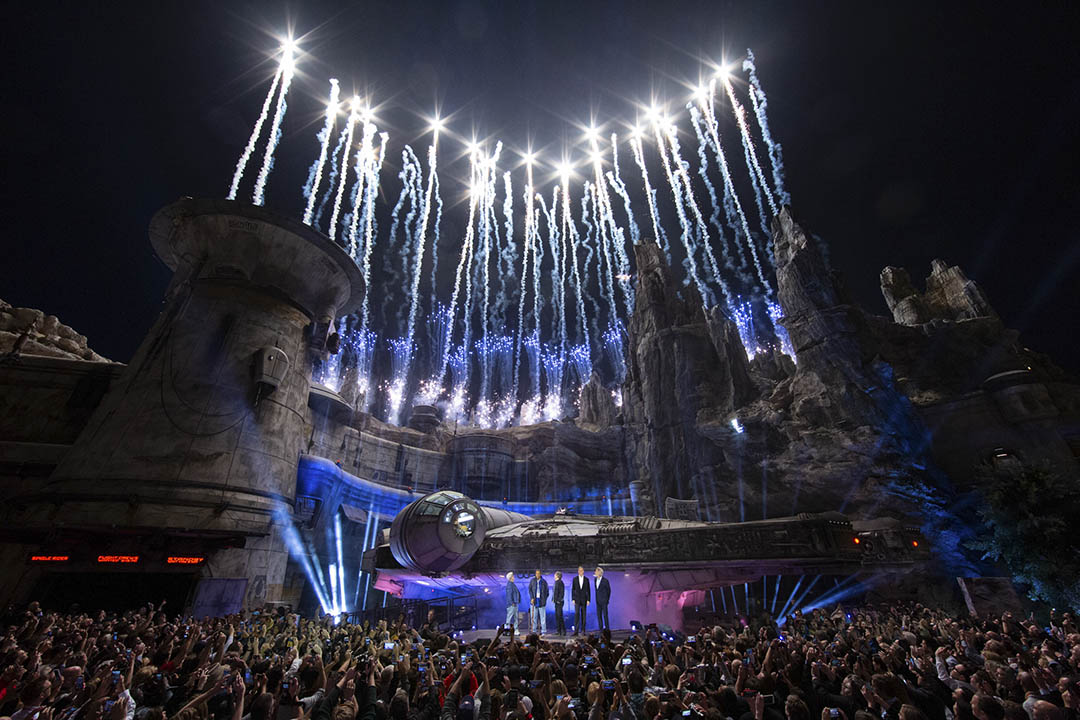 Star Wars: Galaxy's Edge at Disneyland Park in Anaheim, California, lights up with galactic fanfare during its pre-opening ceremony, May 29, 2019