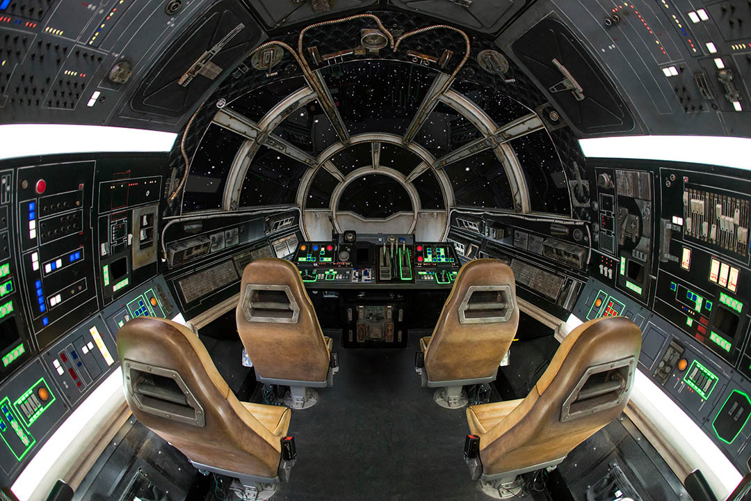 Inside Millennium Falcon/em>: Smugglers Run, you can take the helm aboard the fastest hunk of junk in the galaxy. (Joshua Sudock/Disney Parks)