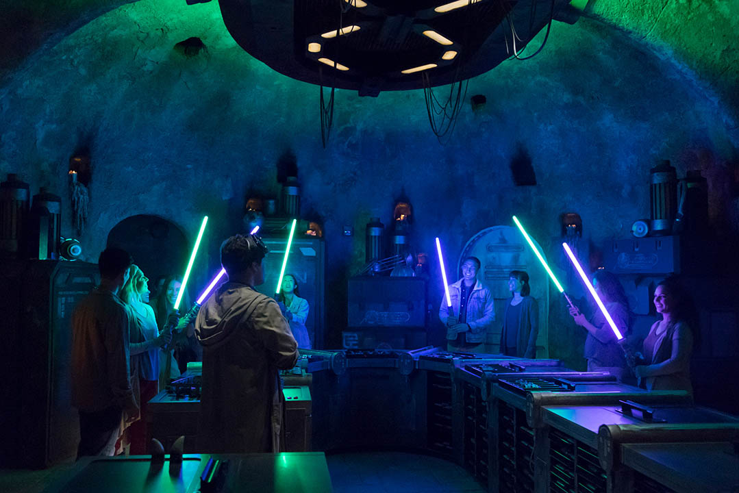 At Savi's Workshop – Handbuilt Lightsabers, customize and craft your own lightsabers. (Joshua Sudock/Disney Parks)