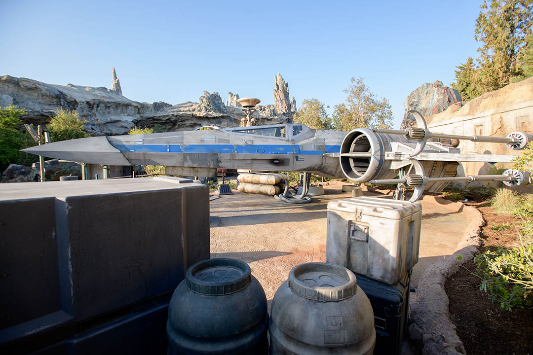 An X-wing sits at the Resistance Mobile Command Post. (Richard Harbaugh/Disney Parks)