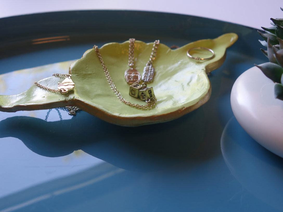 Jewelry tray modeled after Yoda's visage