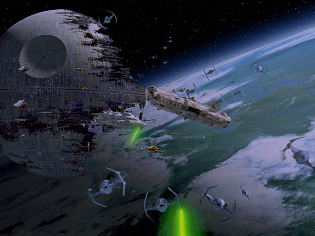 The Empire battles the Rebel Alliance.