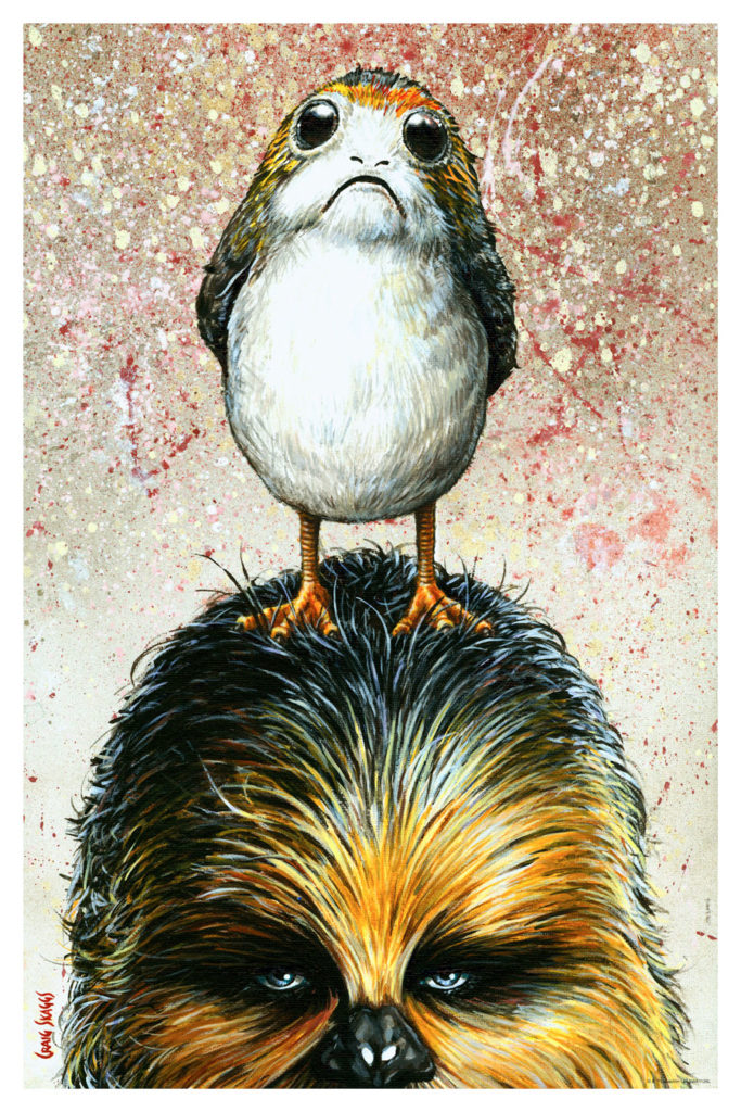 "Chewbacca with a porg on his head art print called ""Odd Couple"""