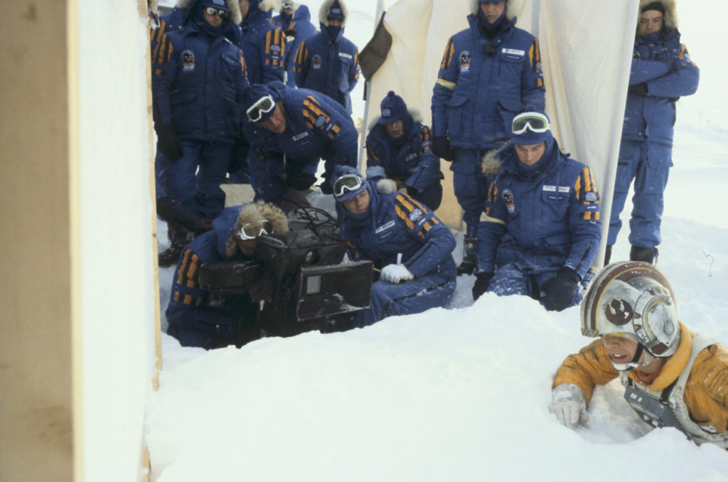 Mark Hamill shoots a scene in the snow for Star Wars: The Empire Strikes Back.
