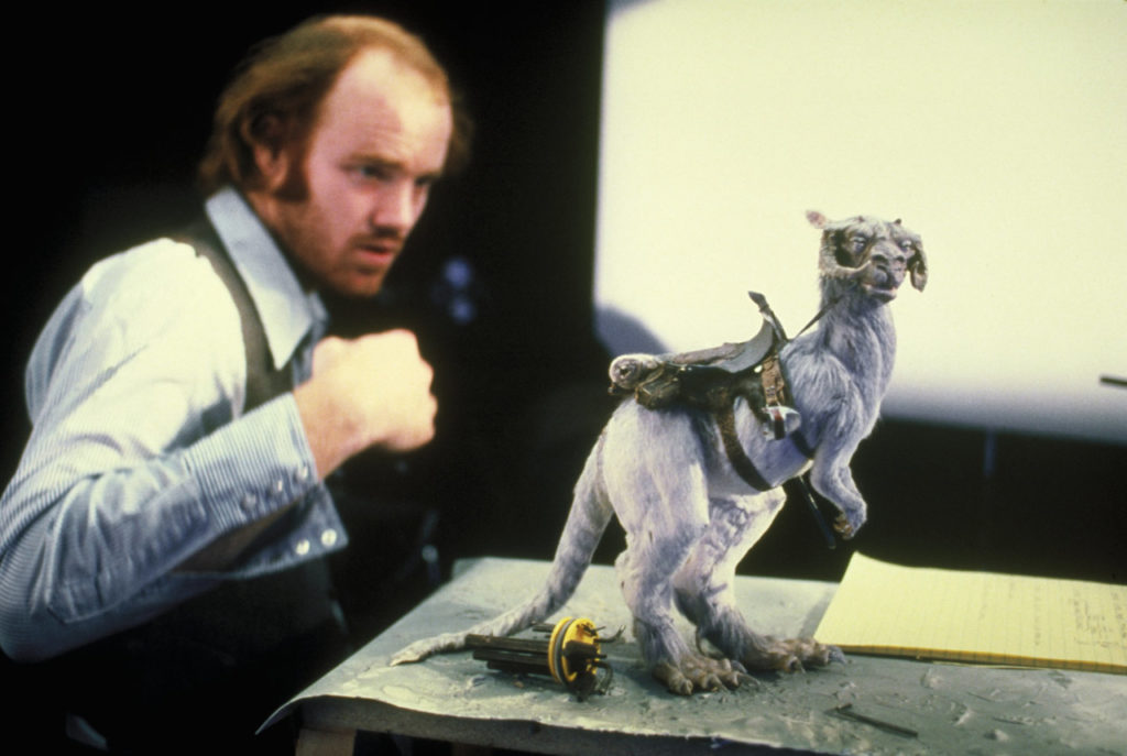 Phil Tippett with a tauntaun stop-motion puppet.