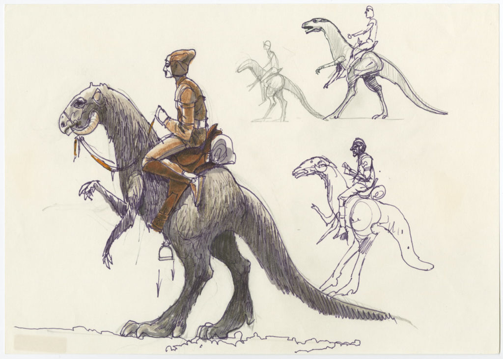 Concept art of a rebel riding a tauntaun for Star Wars: The Empire Strikes Back.