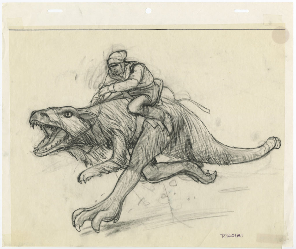 An early sketch of a rebel riding a tauntaun for Star Wars: The Empire Strikes Back.