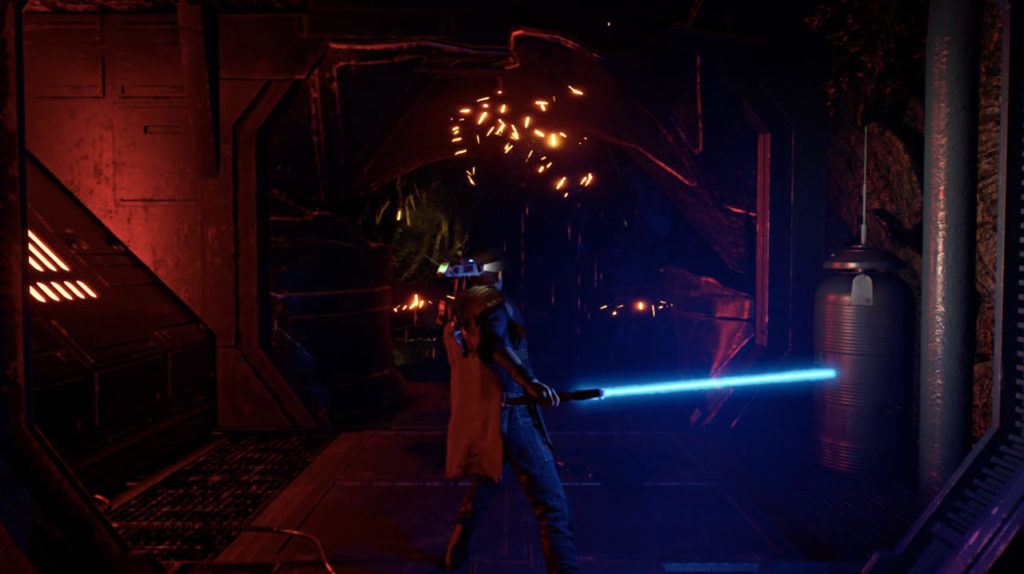 Cal Force pushes a door in Star Wars Jedi: Fallen Order.