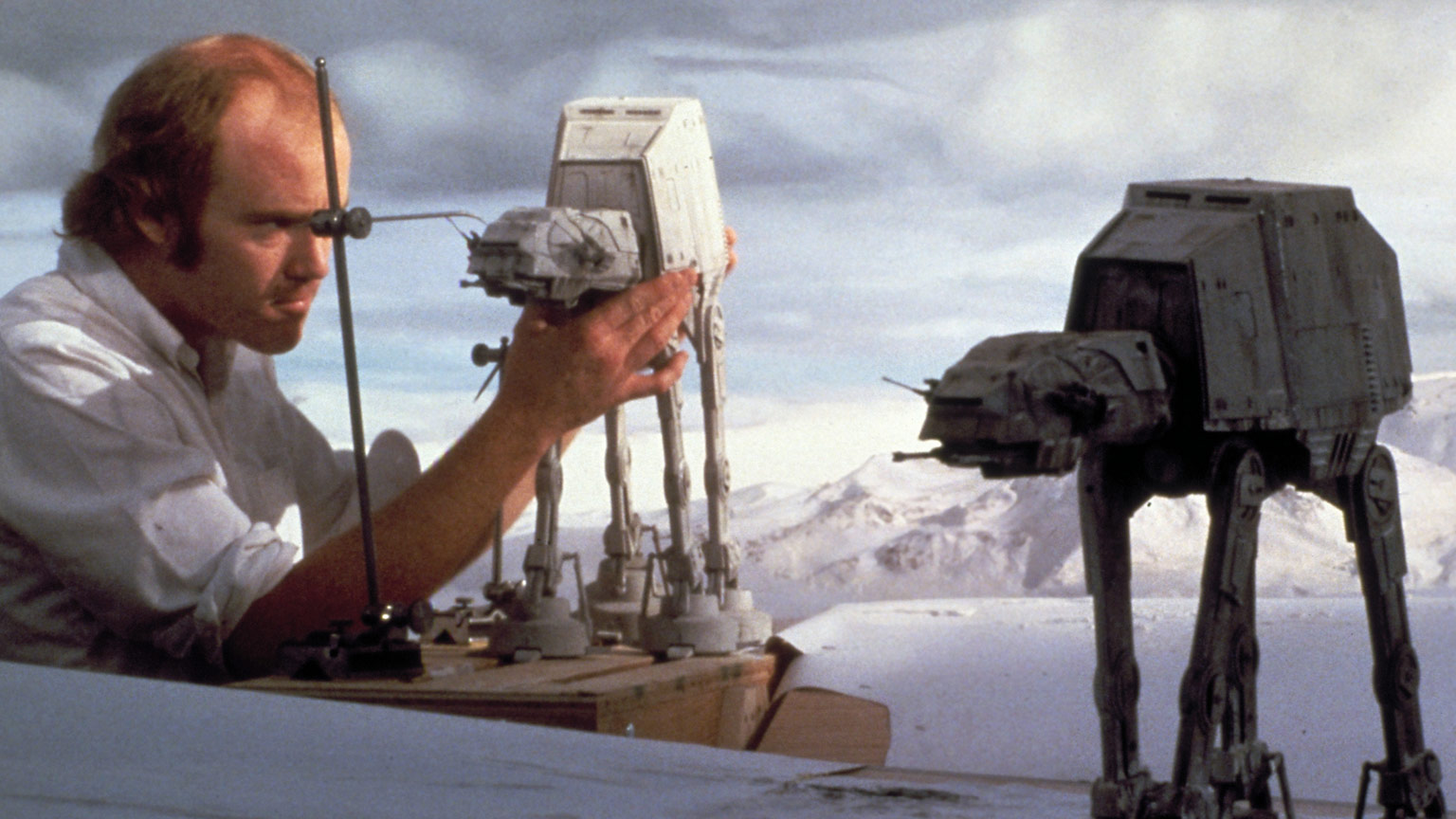 Phil Tippett with an AT-AT stop-motion puppet.