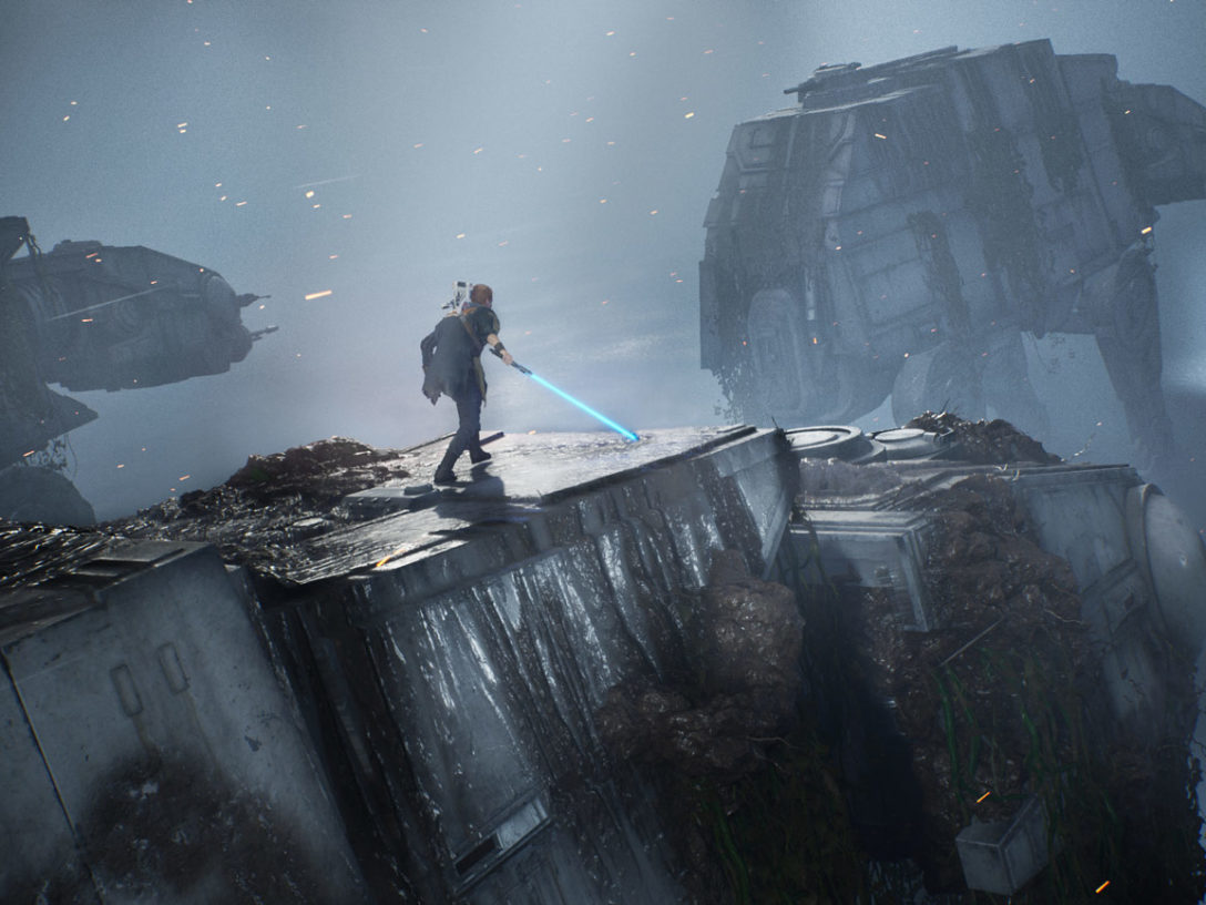 Cal Kestis on an AT-AT in Star Wars Jedi: Fallen Order.