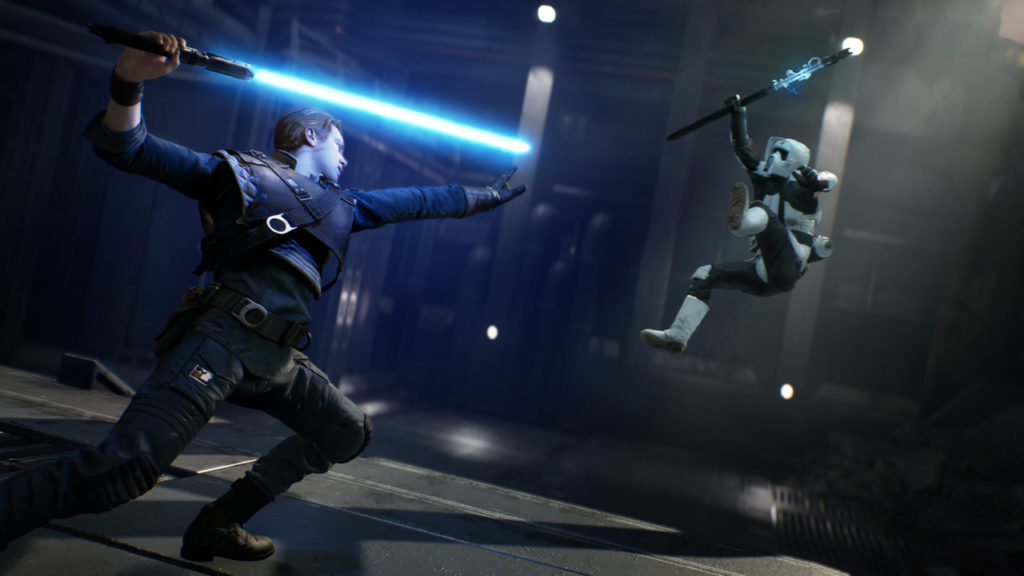Cal Kestis Force pushes a stormtrooper in Star Wars Jedi: Fallen Order.