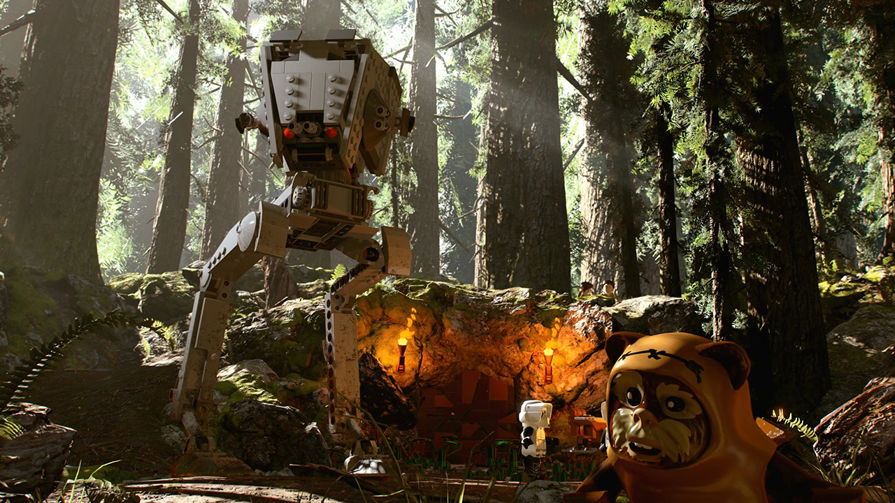 An AT-ST on Endor in LEGO Star Wars: The Skywalker Saga.