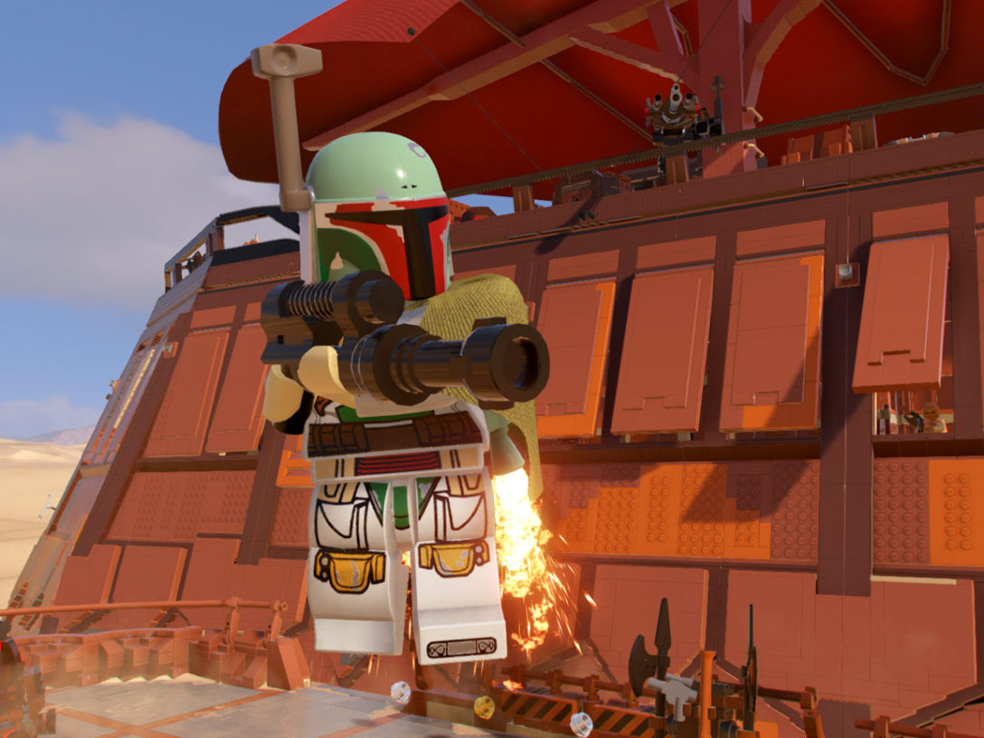 Boba Fett flies near Jabba's sail barge in LEGO Star Wars: The Skywalker Saga.