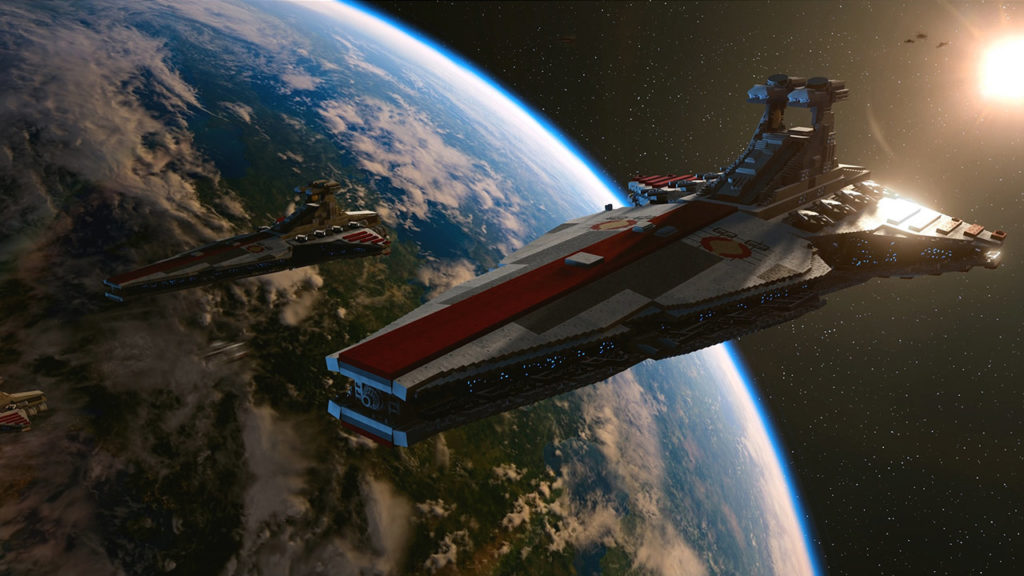 A Venator-class Star Destroyer in LEGO Star Wars: The Skywalker Saga.