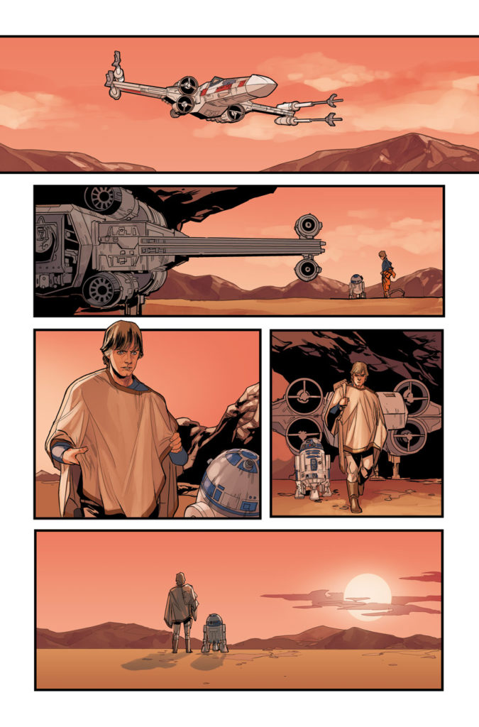 Star Wars #68 page with Luke and R2-D2 outside their X-wing.