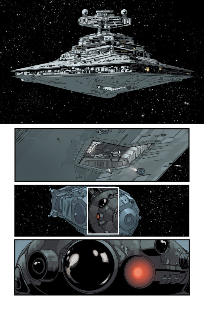 Star Wars #68 page with a Star Destroyer launching probe droids.