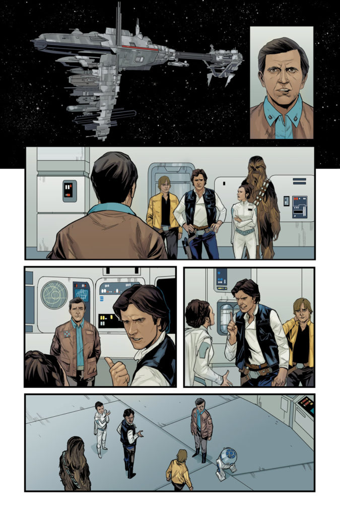 Star Wars #68 page with Han, Luke, Leia, and Chewie on a rebel ship.