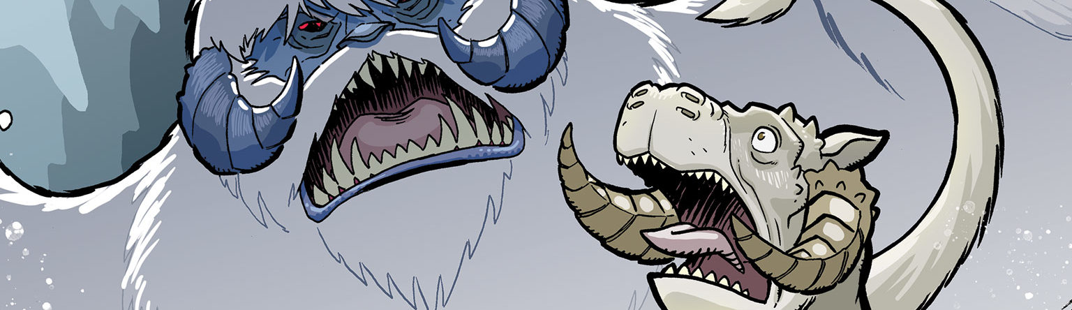 A wampa attacks a tauntaun on the cover of Star Wars Adventures #22.