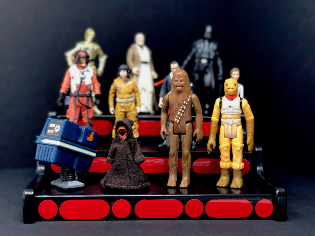 Kenner figures on a DIY action figure display stand