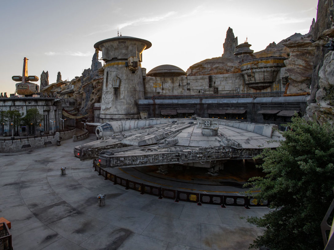 Dusk at Millennium Falcon: Smugglers Run at Star Wars: Galaxy's Edge.