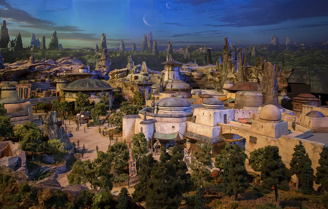A scale production model of Star Wars: Galaxy's Edge.