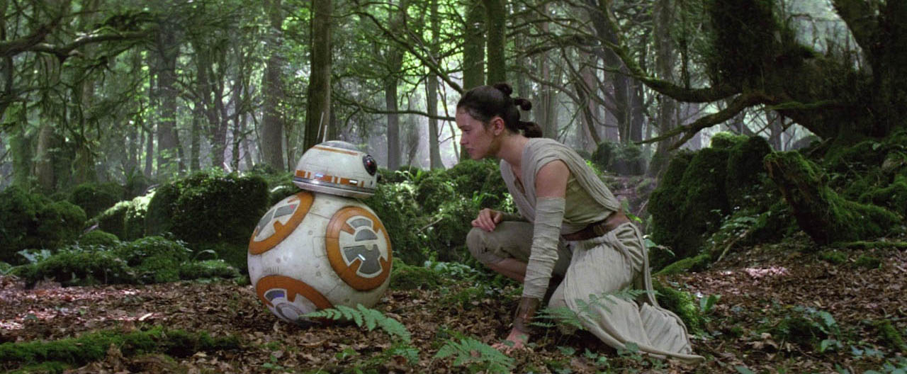 Rey helps BB-8 escape again.