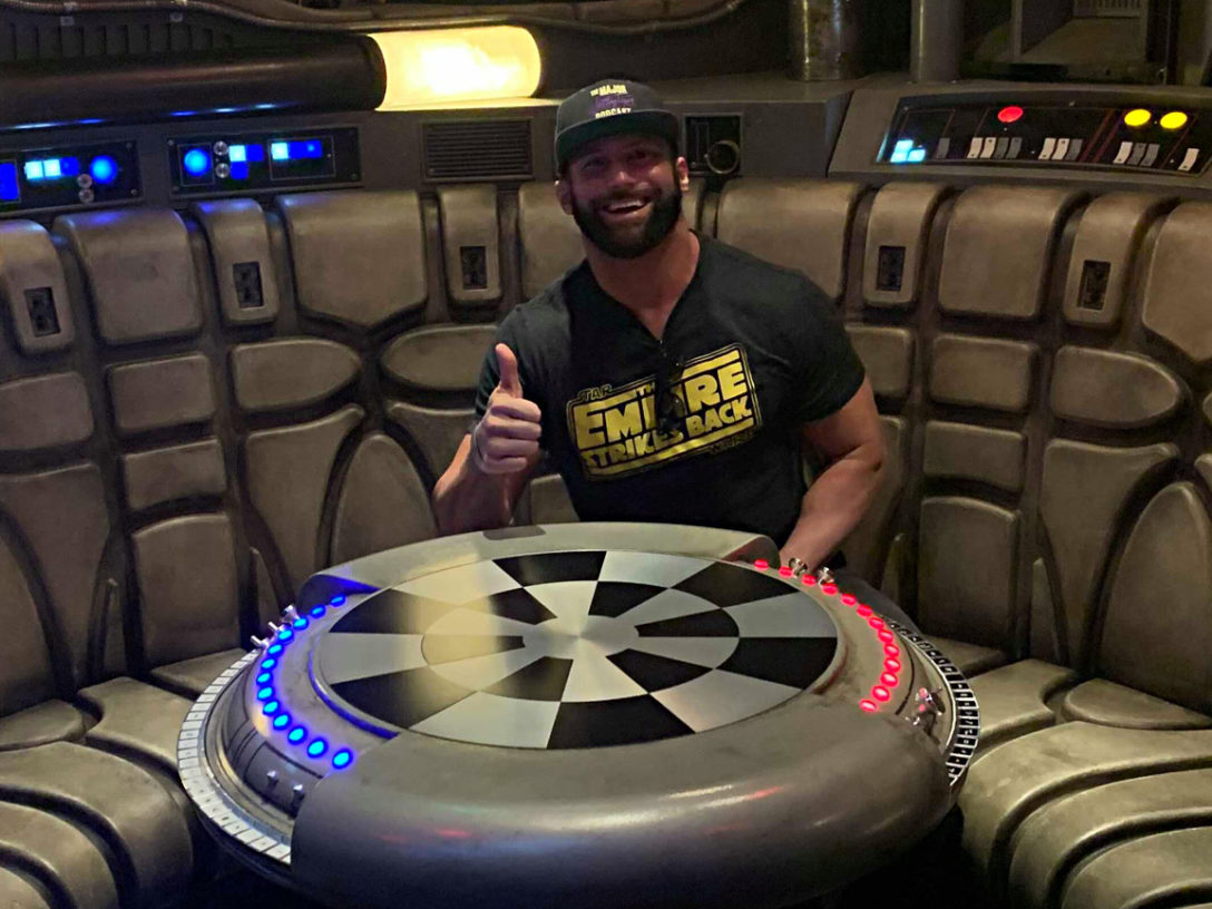 Zack Ryder in the Millennium Falcon at Star Wars: Galaxy's Edge.