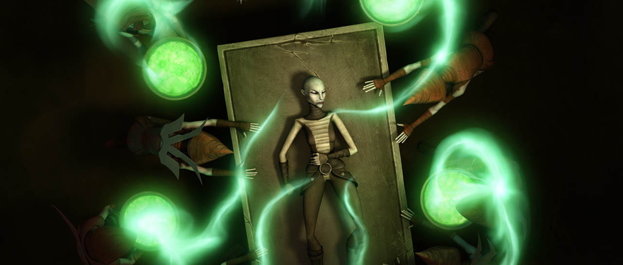 "Asajj Ventress in a scene from ""Nightsisters."""