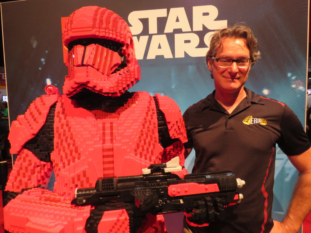 LEGO Sith trooper model with LEGO Master Builder Erik Varszegi