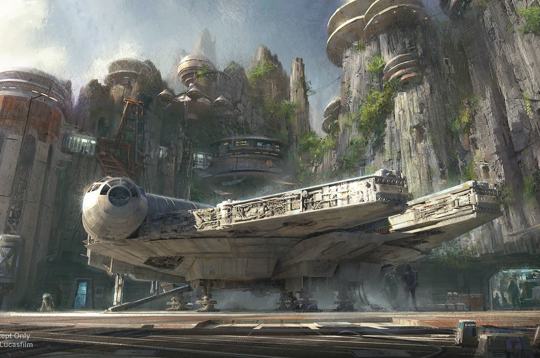 Millennium Falcon at Galaxy's Edge concept art