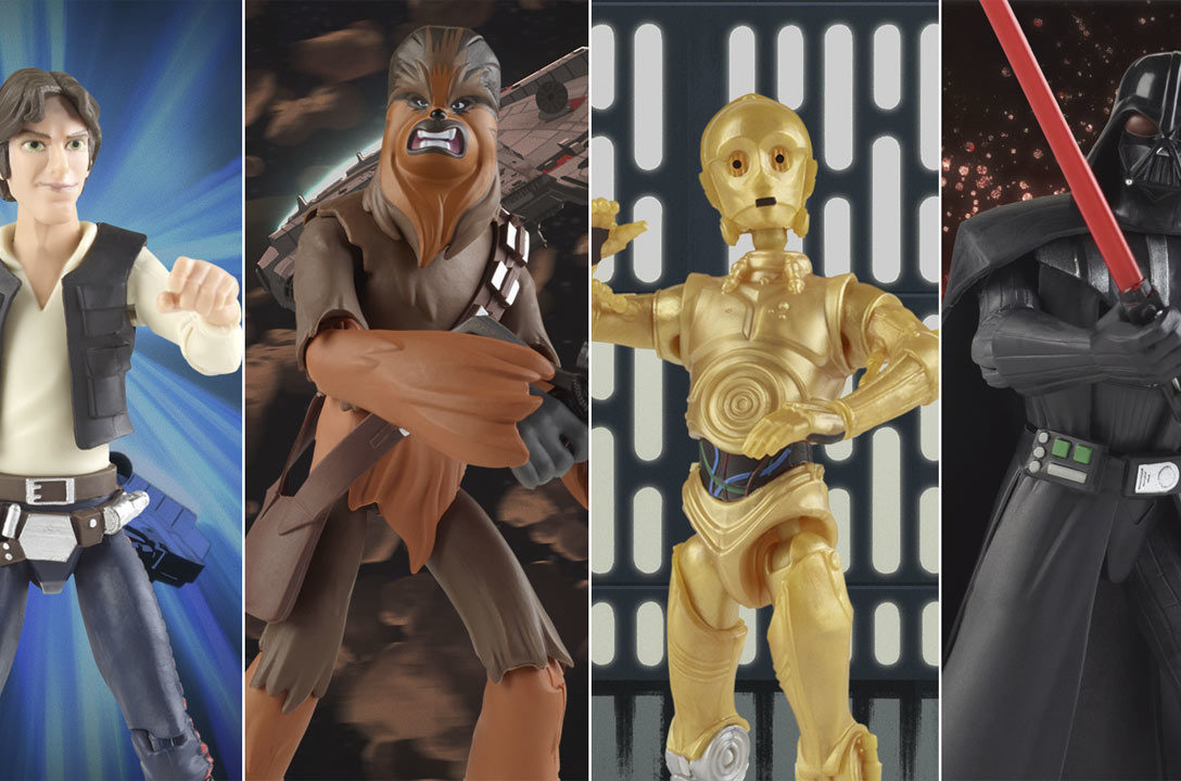 Han Solo, Chewbacca, C-3PO, and Darth Vader Hasbro action figures