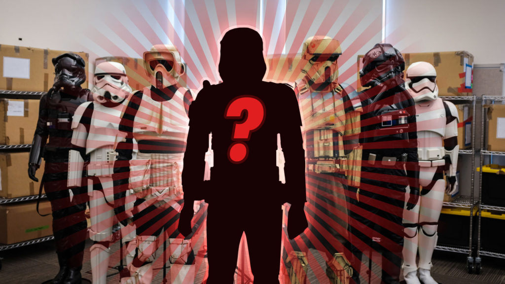 Stormtrooper armor from across Star Wars, with the Sith trooper in shadow