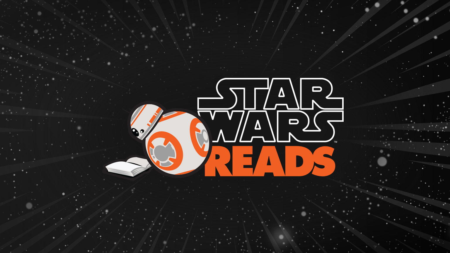 BB-8 reads a book next to the Star Wars Reads logo