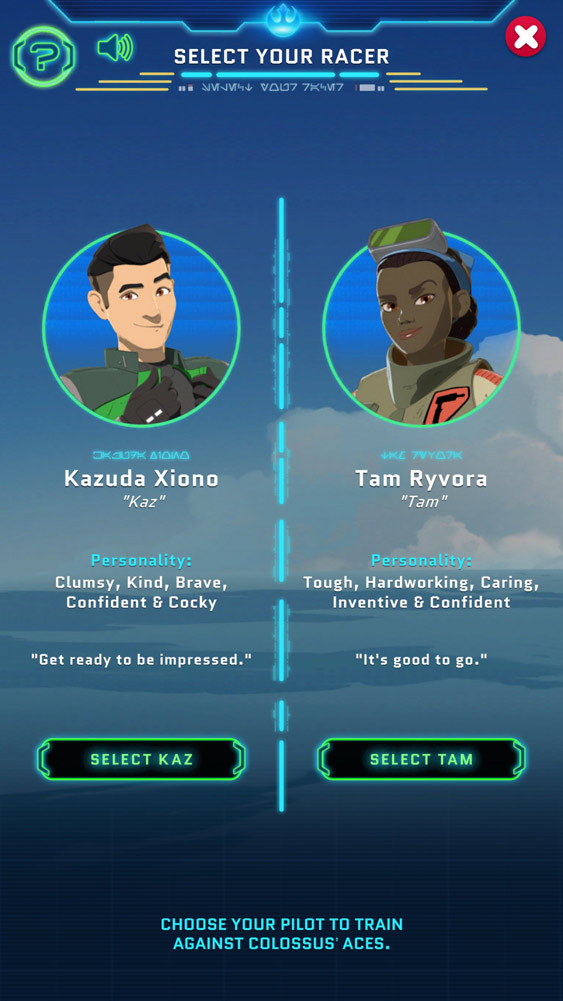 Kaz and Tam in Star Wars Resistance Racer