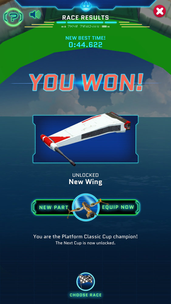 Win screen in Star Wars Resistance Racer