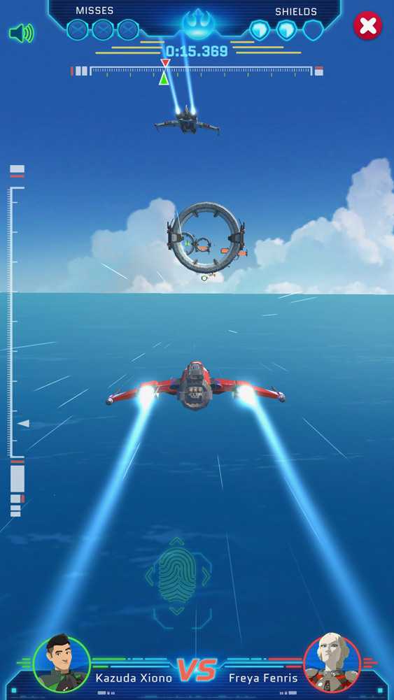 A ship soars over Castilon oceans in Star Wars Resistance Racer