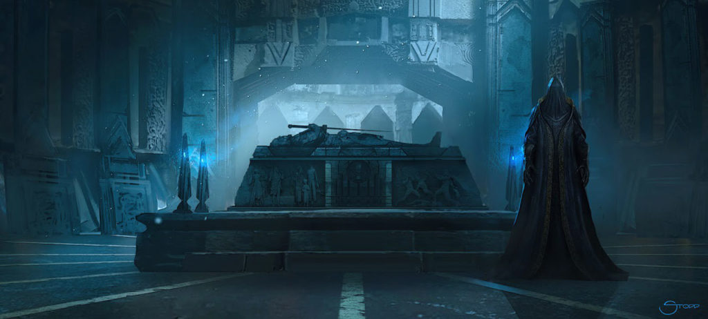 Concept art of the Black Bishop near a tomb in Vader Immortal - Episode II.