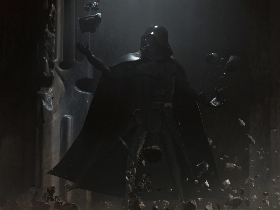 Concept art of Darth Vader training the player in the Force in Vader Immortal - Episode II.