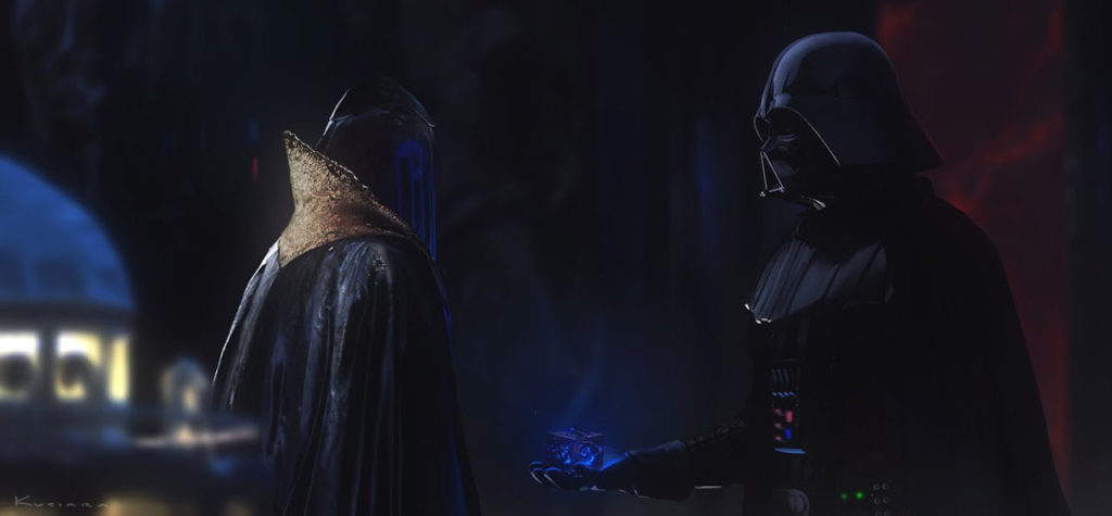 Concept art of the Black Bishop and Darth Vader in Vader Immortal - Episode I.
