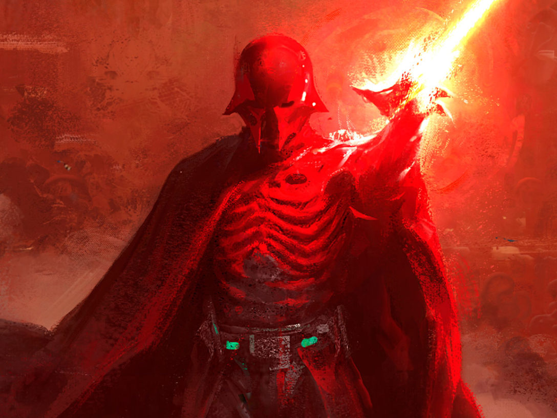 A painting of a haunting Darth Vader from Star Wars: Myths & Fables.